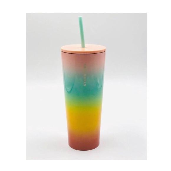 Starbucks NEW Stainless Steel Rainbow Ombré Venti Tumbler 24oz Summer 2019 Pride